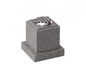 small grey granite vase memorial