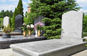 Light grey granite headstone
