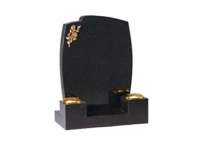 Star Galaxy granite headstone with bronze engraved rose design