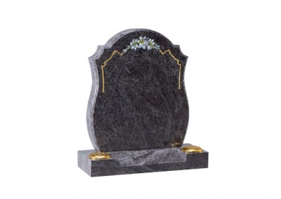 Bahama Blue granite headstone with rounded sides and painted flower design
