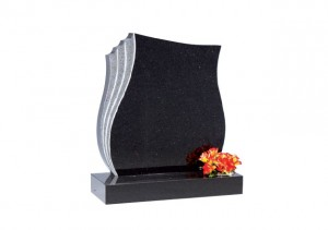 Star Galaxy granite headstone with hand carved rebate on the left edge