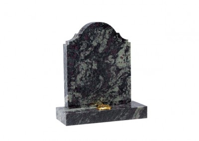 Imperial Green granite headstone with a distinctive shape