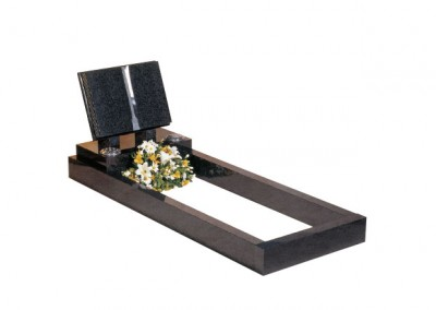Dark Grey granite kerb set with book memorial