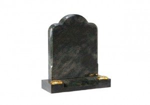 Tropical Green granite headstone with chamfered edge