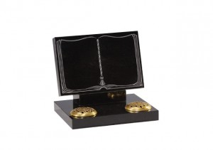 Black granite book headstone with two flower holders