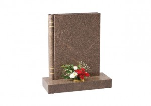 Yellow Teak granite headstone with a fully worked representation of a 'book of life'