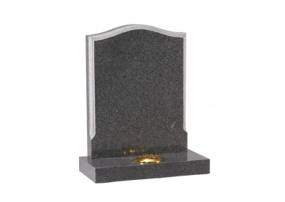 Tropical Green granite headstone with chamfered edge and centre splay base