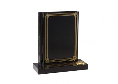 Black granite headstone with 'the book of life' gilded decorative border
