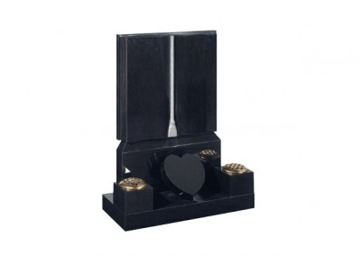 Black granite headstone with carved cord and tassel engraving and heart token