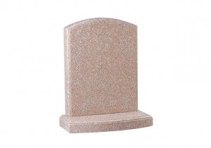 Pink granite headstone with polished moulding on headstone and base