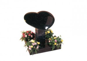 Star Galaxy granite heart memorial with rounded edges