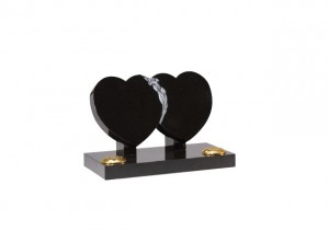 Black granite double heart memorial with hand carved lily