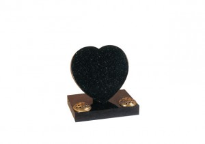 tar galaxy granite heart headstone with two flower containers