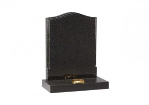 Dark Grey granite headstone with polished moulding on the edges