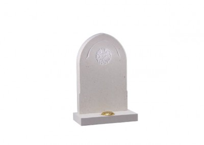 Nabresina Stone headstone with a chamfer edge and hand carved design.