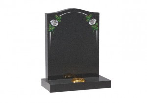 Dark Grey granite headstone with white rose and elegant pin line