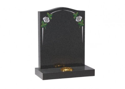 Dark Grey granite headstone with white rose and elegant pin line