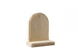 York stone headstone with a natural pitched edge and margin