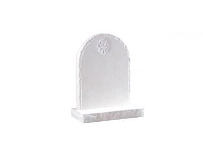 Nabresina Stone headstone with pitched edges and carved rose design
