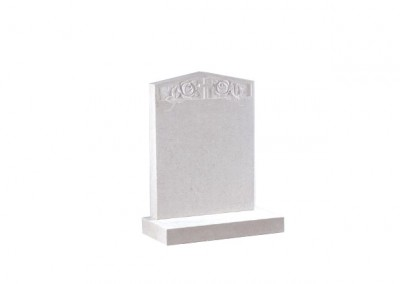 Nabresina Stone headstone with hand carved rose and cross design