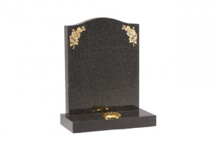 Dark Grey granite headstone with rose design on the shoulders