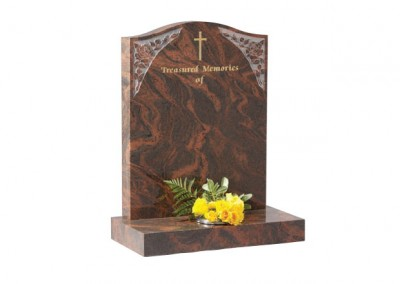 Twilight Red granite headstone with etched roses