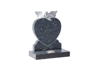 Black granite heart headstone with carved angel