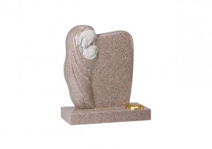 Carnation granite headstone with hand carved 'Madonna and Child' ornament