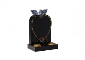 Black granite heart headstone with hand carved angel