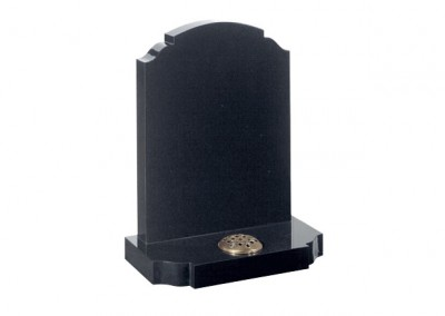 Black granite headstone with traditional churchyard shaped headstone and base