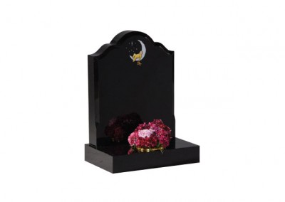 Black granite headstone with hand painted 'baby in moon' design with moulded edge