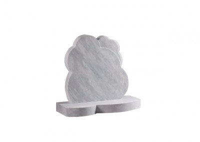 Dove Grey granite headstone cloud memorials with matching base