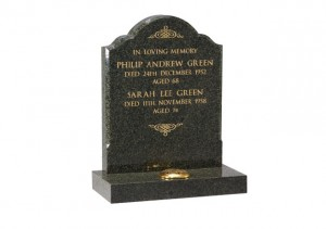 Fir Green granite headstone with chamfered sides and gilded inscription