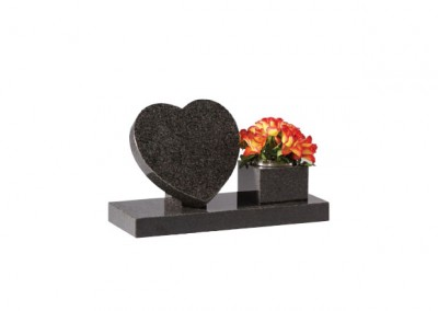 Dark Grey granite heart memorial on riser with side vase