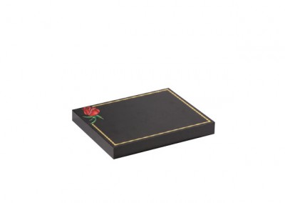 Black granite tablet with corner rose design