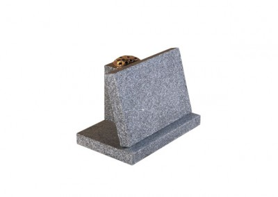 Dark Grey granite with headstone that sits behind desk