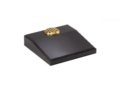 Black granite desk memorial with moulded edge