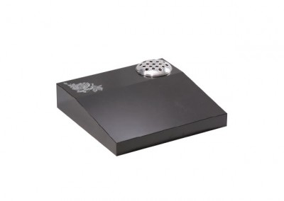 Black granite desk memorial with rose ornament