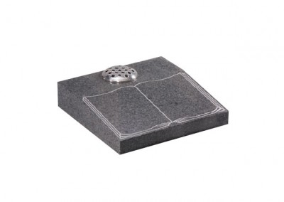 Light Grey granite desk memorial with etched and highlighted book design