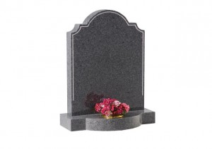 Light Grey granite headstone with etched pin line design and a bow front base