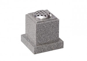 Light Grey granite memorial vase with stem holder