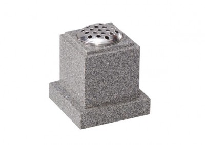 Light Grey granite memorial vase with stem holder