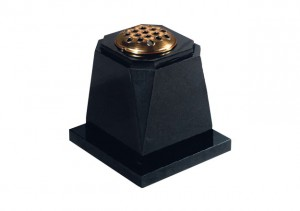 Black granite memorial vase with stem holder