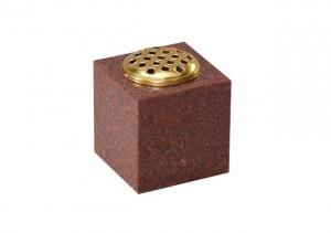 Ruby Red granite memorial vase