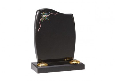Black granite headstone with painted flowers