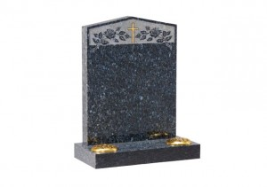 Blue Pearl granite headstone with peon top with etched roses and cross design