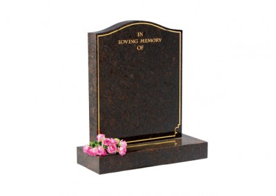 Ruby Red granite headstone with plain pin line