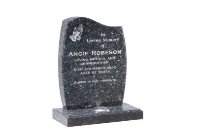 Blue pearl granite headstone with chamfered headstone