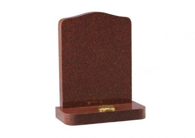 Ruby Red granite headstone with rounded shoulders and matching corners on base