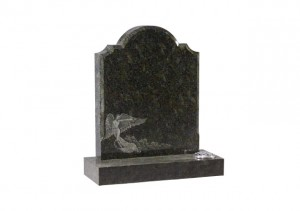 Emerald Pearl granite headstone with detailed etched angel design